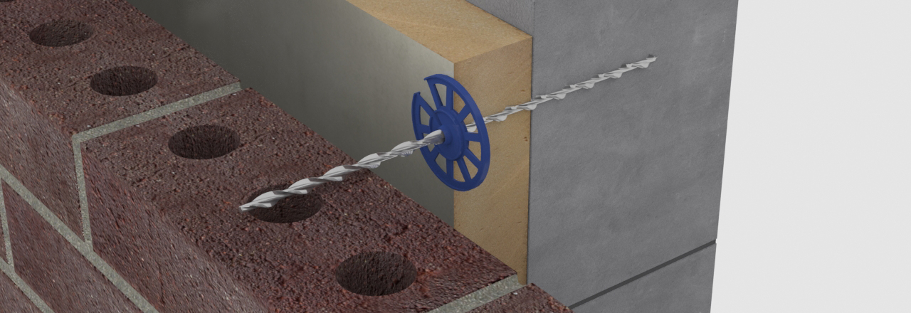 Thin joint wall ties secure aircrete blocks to brick facade